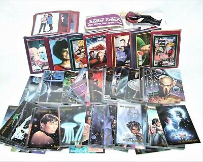 Lot of Almost 200 Vintage 1990s Star Trek Cards + Picard Figure + Fan Club Patch
