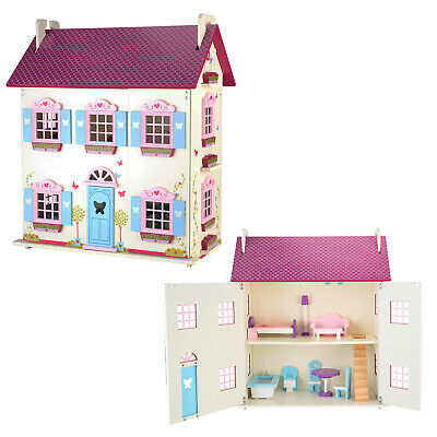Large Kids Wooden Dolls House Traditional Toy Play Set 10 Piece Wood Furniture