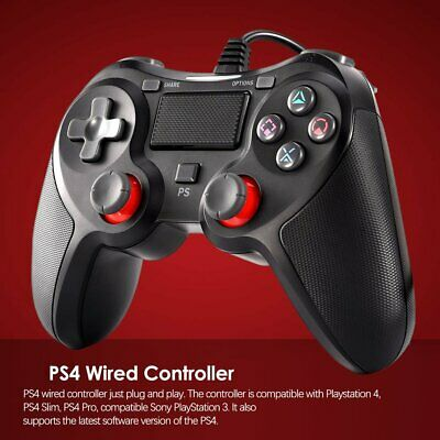 PS4 Wired Controller, USB Gamepad Controller for PS 4/PS4 Slim/PS4 Pro/PS 3 d9