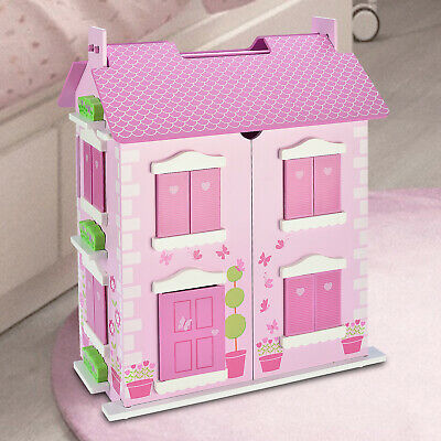 Wooden Dolls House Play Set Deluxe Large FREE 10 Piece Matching Dolls Furniture