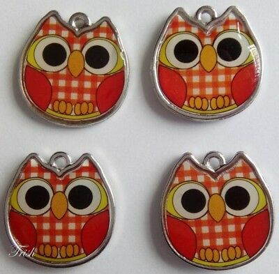 1 set of 4 Double-sided Enamelled OWL charms ~ Orange
