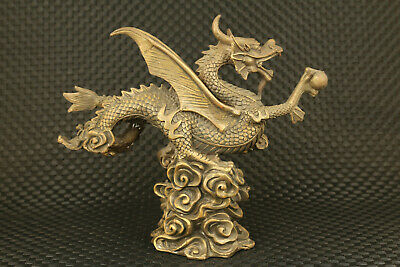 big Chinese old bronze Hand cast water dragon statue