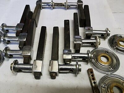 5pr chrome & black wood levers handles & rosettes ORIGINAL ART DECO c1930 rare