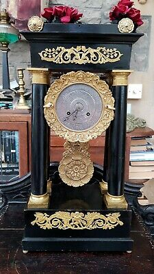 Antique-Superb Solid Silver Dial Portico Ornate Pendulum Mantle Clock-GWO-c1850