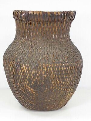 "Antique Chinese Willow Woven Basket 10"" tall"