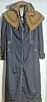 Antique 19th C. VICTORIAN MOUNRNING COAT & Capelet VV75