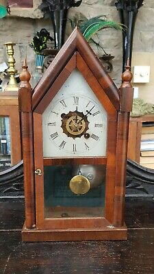 Antique-New Haven Connecticut-Rosewood Steeple Mantle Pendulum Clock-GWO-c1890's