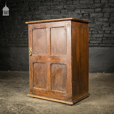 Small 19th C Pine Cupboard Cabinet Internal Bank of Drawers with Inset Brass Han
