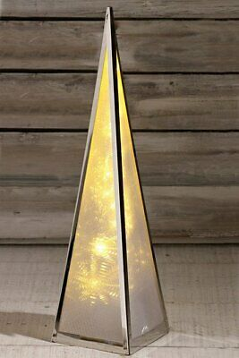 50cm Holographic Pyramid Tree with LED Lights White or Multi Coloured