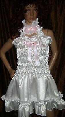Prissy Sissy Maid CDTV Adult Baby White elasticated Lockable Dress & Padlock