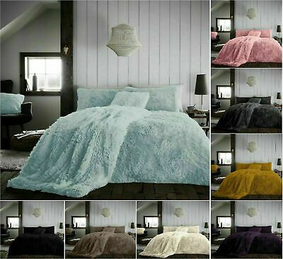 Hug Snug Fluffy Fur Fleece Duvet Cover Set Super Soft Cozy Bedding Sets / Throws