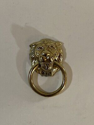Vintage Brass Small Lions Head Door Knocker Drawer Knob Very Nice