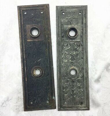 2 Antique Victorian Door Plates Hardware Doorknob Backplate Pair Ornate Nouveau