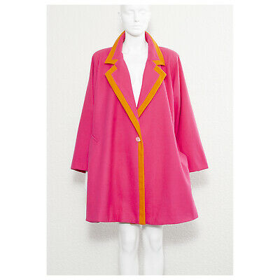 Stunning vintage 1980s hot pink oversized UNGARO swing coat jacket