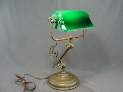 Original Antique Brass Bankers Piano Student Lamp Molded Green Glass Shade Heavy