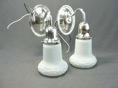 Antique Matching Silver Plated Wall Sconce Light Lamps Milk Opal Glass Shades