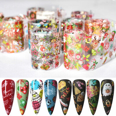 10 Rolls Holographic Nail Foils Decal Nail Art Transfer Stickers Decor Tips DIY