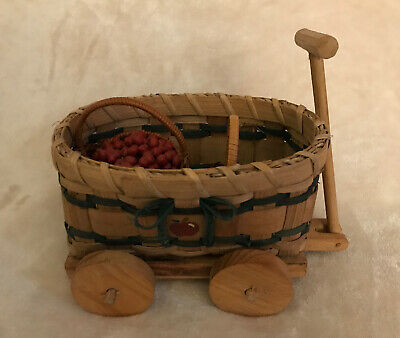 Authentic Vtg Byers Choice Accessory EUC Wooden Bucket with Gold Handle