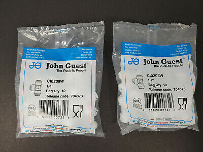 "John Guest Union Tee 1/4"" - 2 10 Packs C10208W.  Speedfit. Fast Free Shipping."