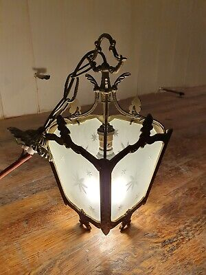 A Pair of Superb Quality French Rococo Brass & Etched Glass Lantern Hall Light