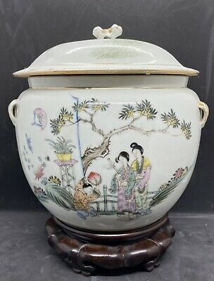 Antique Chinese Famille Rose Qianjiang Lidded Pot