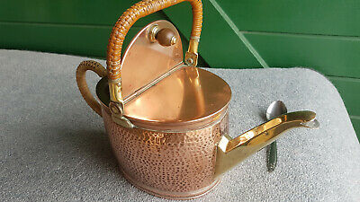 VINTAGE COPPER KETTLE.HAMMERED STYLE WITH WRAPPED BAMBOO HANDLE. 1930s