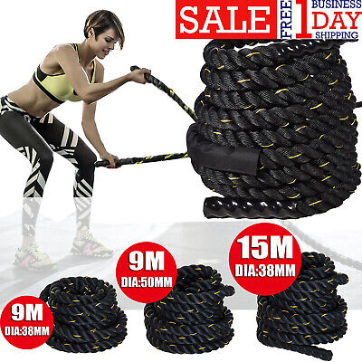 Exercise Rope Battle Power Rope 38/50mm 9/15meter Gym Exercise Fitness Train OS