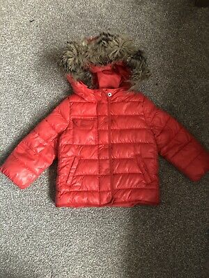 Gap Girls Red Winter Jacket With Hood Size 2 Years High 95cm