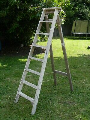 Vintage 6ft Wooden Stepladder Wedding Prop Shop Retail Fitting Shabby Shelving