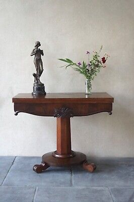 Antique Hall Table Console Card Table Fold Over Mahogany Victorian - Delivery