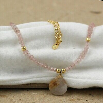 Solid 925 Sterling Silver Jewelry Golden Rutile Gemstone Beads Handmade Necklace