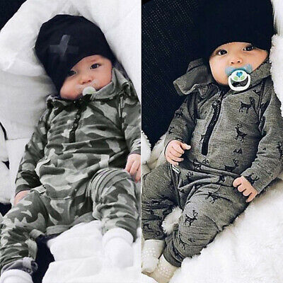 Infant Baby Boys Hooded Jumpsuit Romper Newborn Long Sleeve Jumpsuit Playsuit