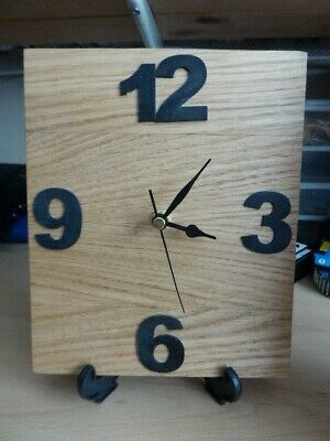 Hand made re-cycled Wooden Mantle Clock - Oak