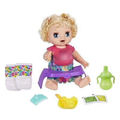 Baby Alive Happy Hungry Baby Blond Curly Hair Doll, Makes 50+ Sounds & Phrase...