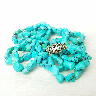 Vintage Chinese Turquoise Knuckle Bead Two Strand Necklace Silver Filigree Clasp