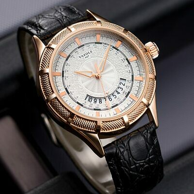 ELEGANT MEN WATCHES with DATE & LEATHER STRAP NEW DESIGN 2019 , GIFT BOX FOR MEN