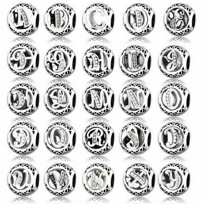 Genuine New Authentic Pandora Alphabet vintage Letter Charm Silver Bead all A-Z