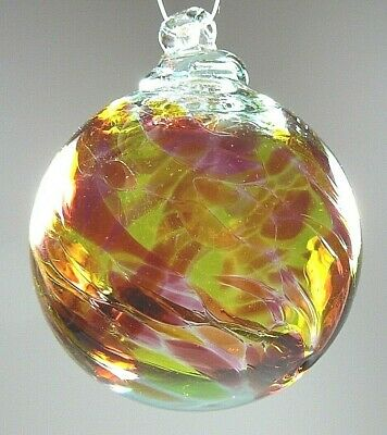 """KITRAS 2.5"""" Red Yellow Glass Witch Ball Ornament Gazing Art Glass Hand Blown"""