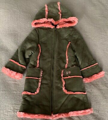 Kenzo khaki faux shearling Girls Coat with hood lined in pink fur age 4