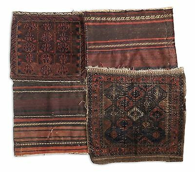 VTG ANTIQUE HAND MADE PERSIAN BALUCH KILIM SADDLE BAG PATCHWORK RUG EARLY 20th