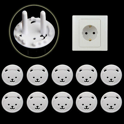 White Electric Baby Safe Kids Outlet Guard Socket Protector Bear Plug Cover
