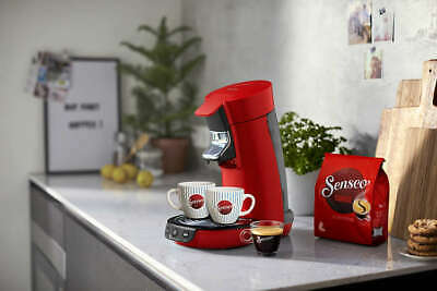 Philips Senseo Viva Cafe Red Coffee Machine + Cups HD6563/88
