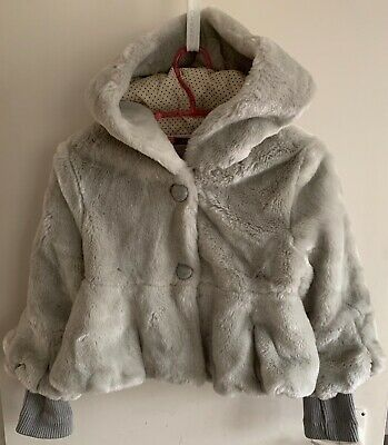 Monnalisa Grey Faux Fur Sparkly Jacket size Girls age 12 with hood.