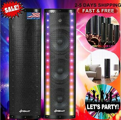 1000W Bi-Amplified Colorful LED Tower Speaker PA System 3-Channel Bluetooth