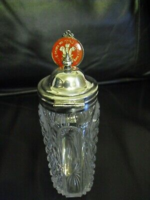 Vintage cut glass sauce bottle with silver plate top + C&D Wedding spoon