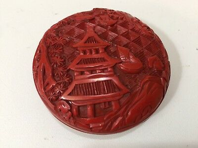 """Vintage Chinese Carved Cinnabar Miniature Lacquer Round Box, 2 1/2"""" D x 1"""" High"""
