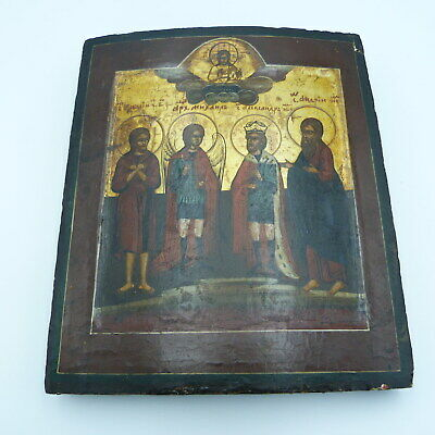 19th Century Imperial Russian Icon Four Saints Novgorod School Orthodox Church