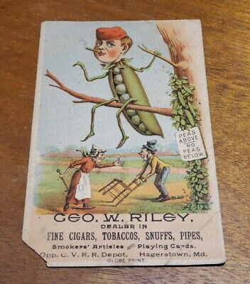 Antique Early Advertising Trade Card 1886 Geo W Riley Tobbaco Hagerstown MD