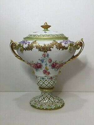 "Antique Royal Trianon Hand Painted Floral & Gold Urn Vase Covered Pot, 14"" Tall"