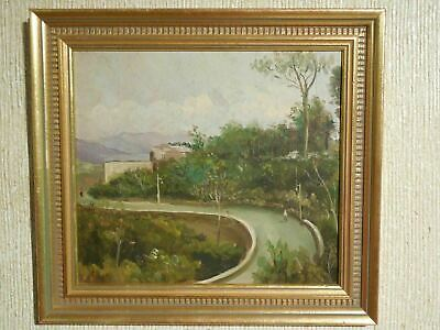 Early 20th Century Oil Painting /wood - Italian Landscape w/ Figures on a Road